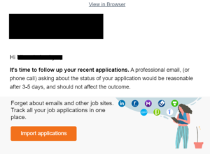 an email from a jobs site giving out bad advice about following up on an application